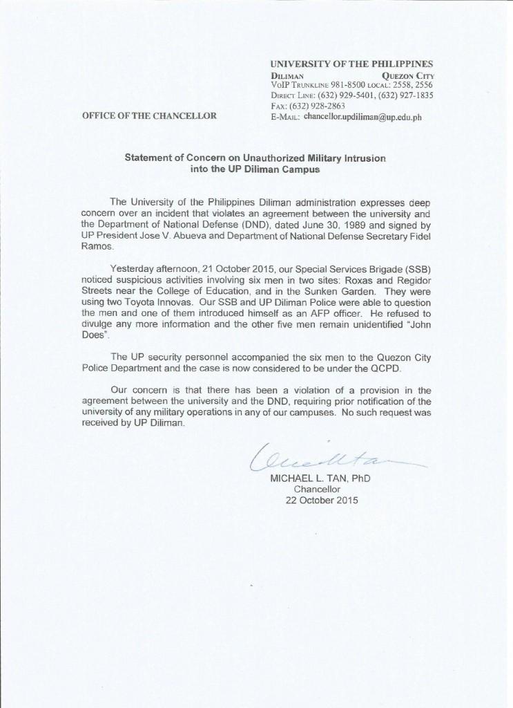 Military Statement