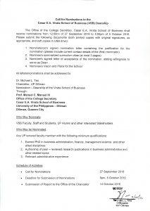 Call for Nomination (VSB deanship)